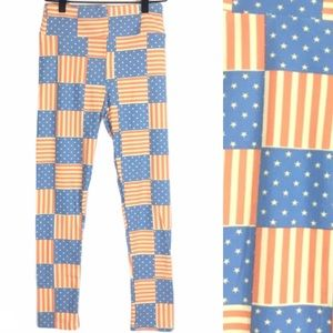 LULAROE Leggings Americana Flag Stars Stripes OS